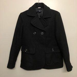 Gap pea coat wool jacket black small